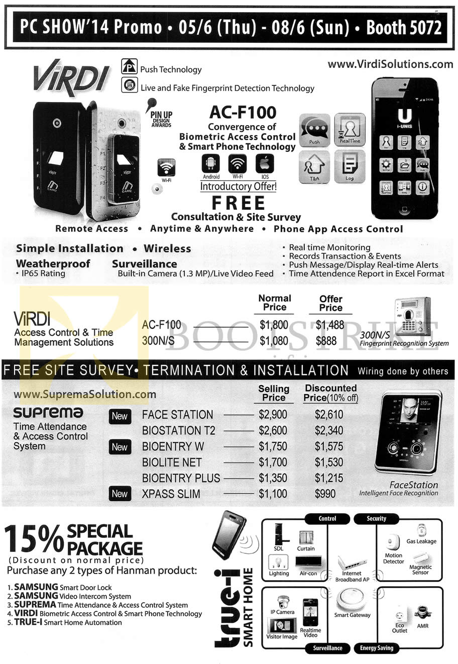 Hanman Price List Virdi Time Access Control Management