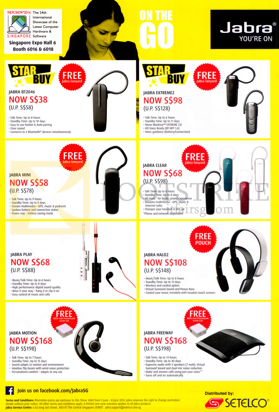 PC SHOW 2014 price list image brochure of Jabra Bluetooth Headsets, Speakers, BT2046, Mini, Extreme2, Clear, Halo2, Play, Motion, Freeway