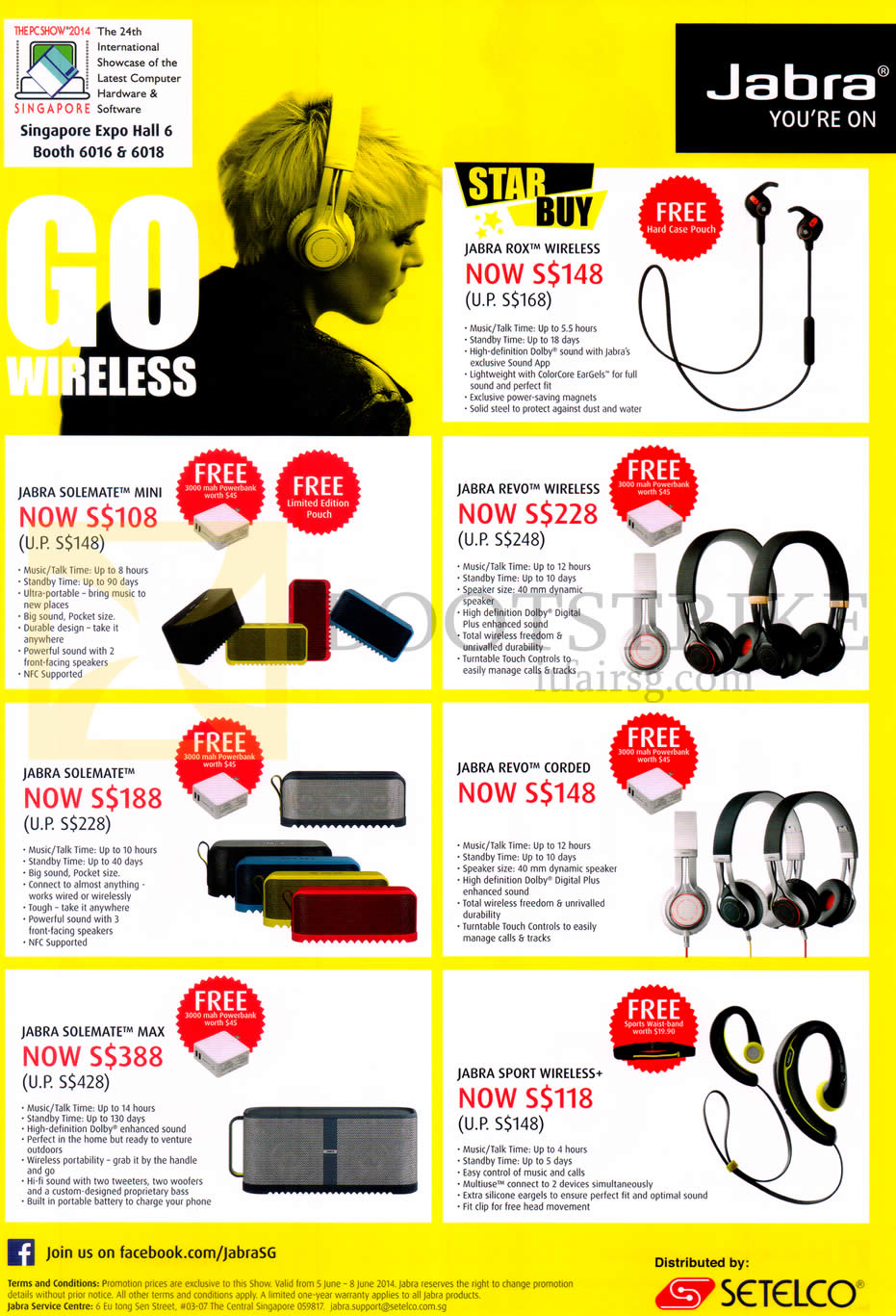 PC SHOW 2014 price list image brochure of Jabra Bluetooth Headsets, Speakers, Rox, Revo, Sport, Wireless, Revo Corded, Solemate, Mini, Max