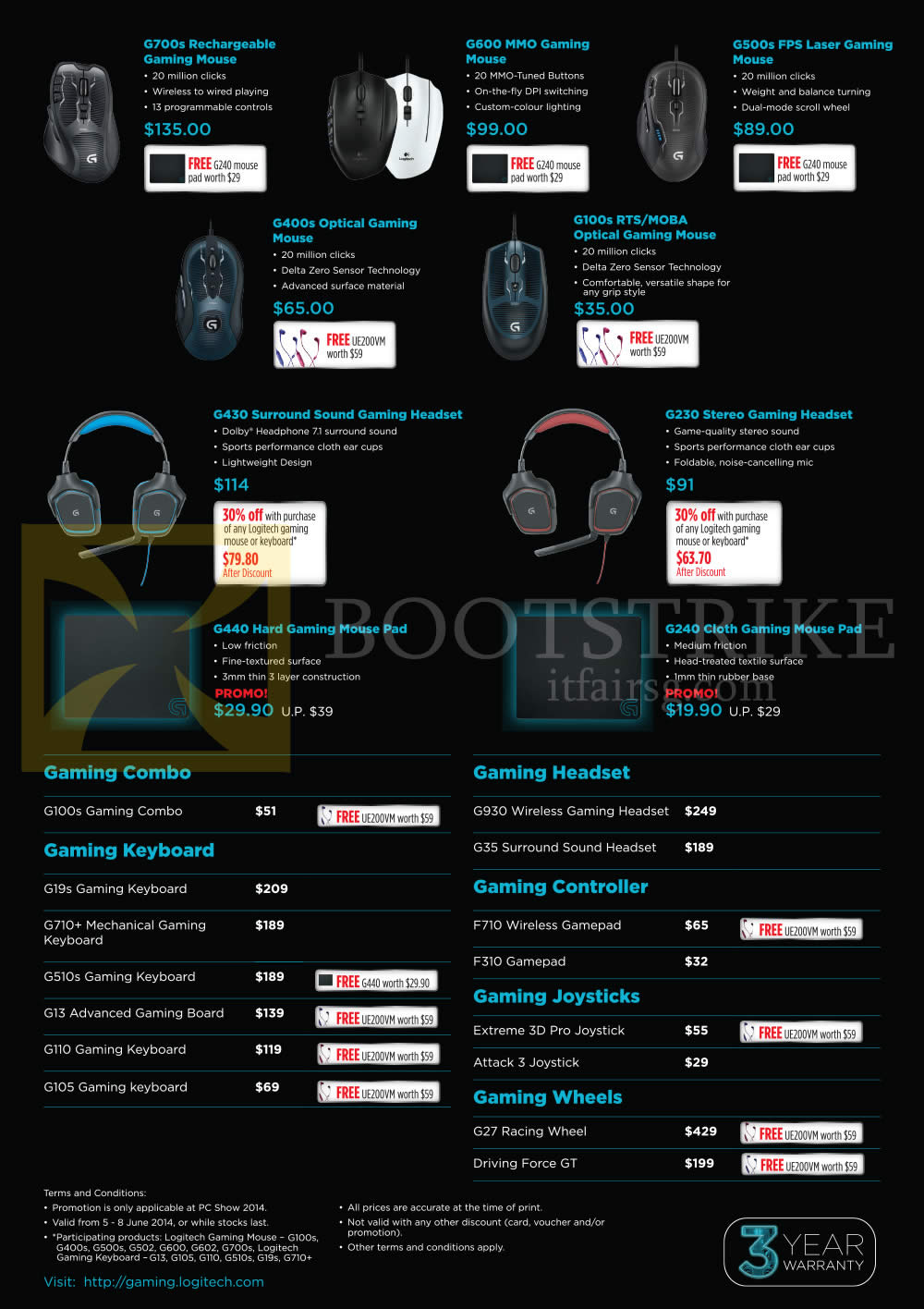 PC SHOW 2014 price list image brochure of Logitech Gaming Mouse, Headset, Mousepad, Keyboard, G700s, G600, G500s, G400s, G100s, G430, G230, G440, G240
