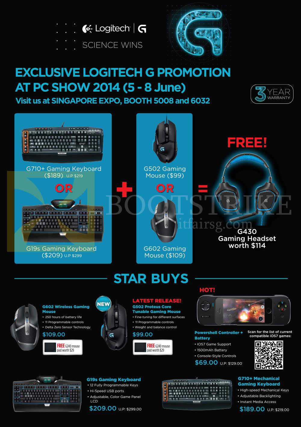 PC SHOW 2014 price list image brochure of Logitech Gaming Mouse, Keyboards, Powershell Controller, G602, G502, G19s, G710 Plus Mechanical Keyboard