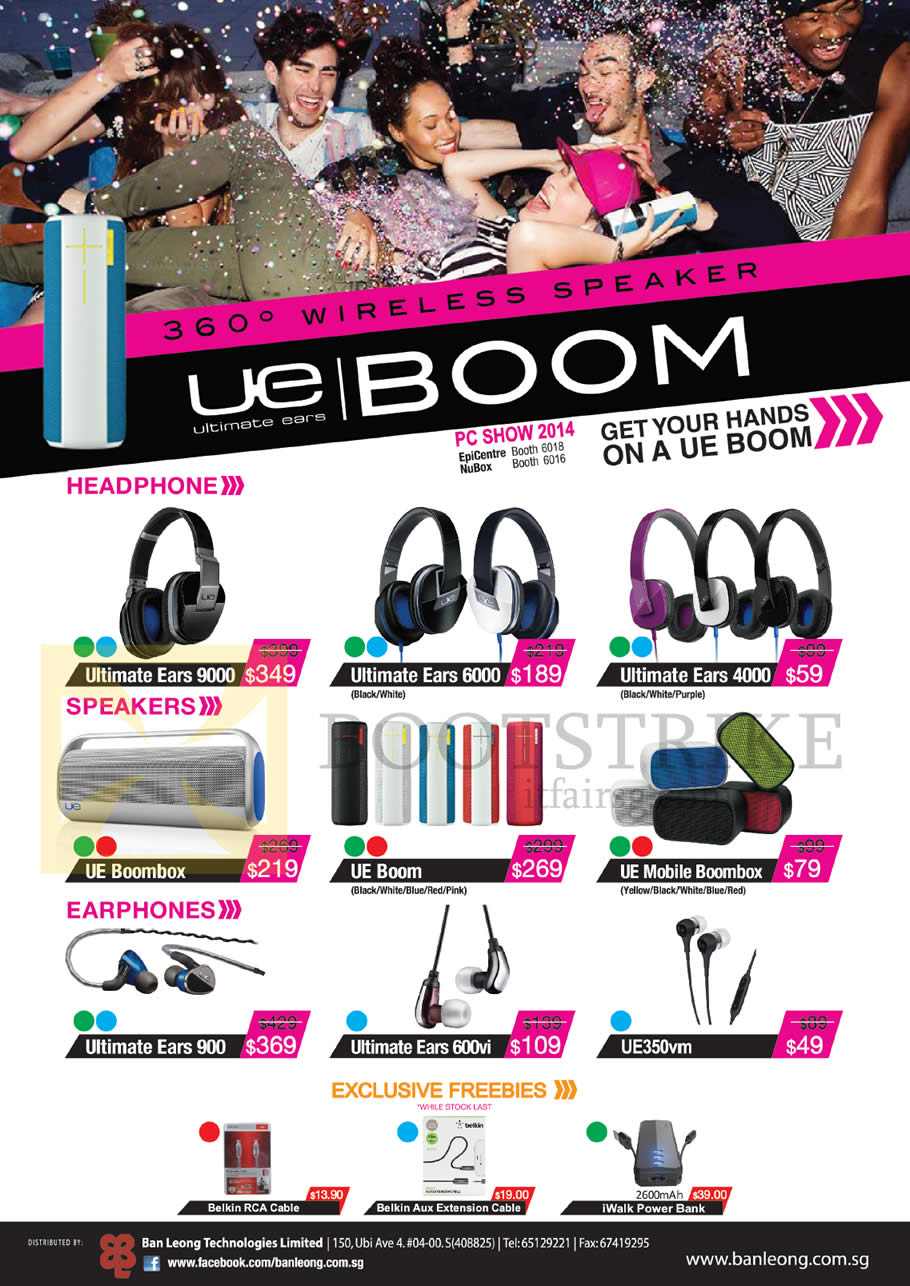 PC SHOW 2014 price list image brochure of Logitech Ultimate Ears Headphones, Speakers, Earphones 9000, 6000, 4000, 900, 600vi, 350vm, UE Boom, Boombox, Mobile Boombox