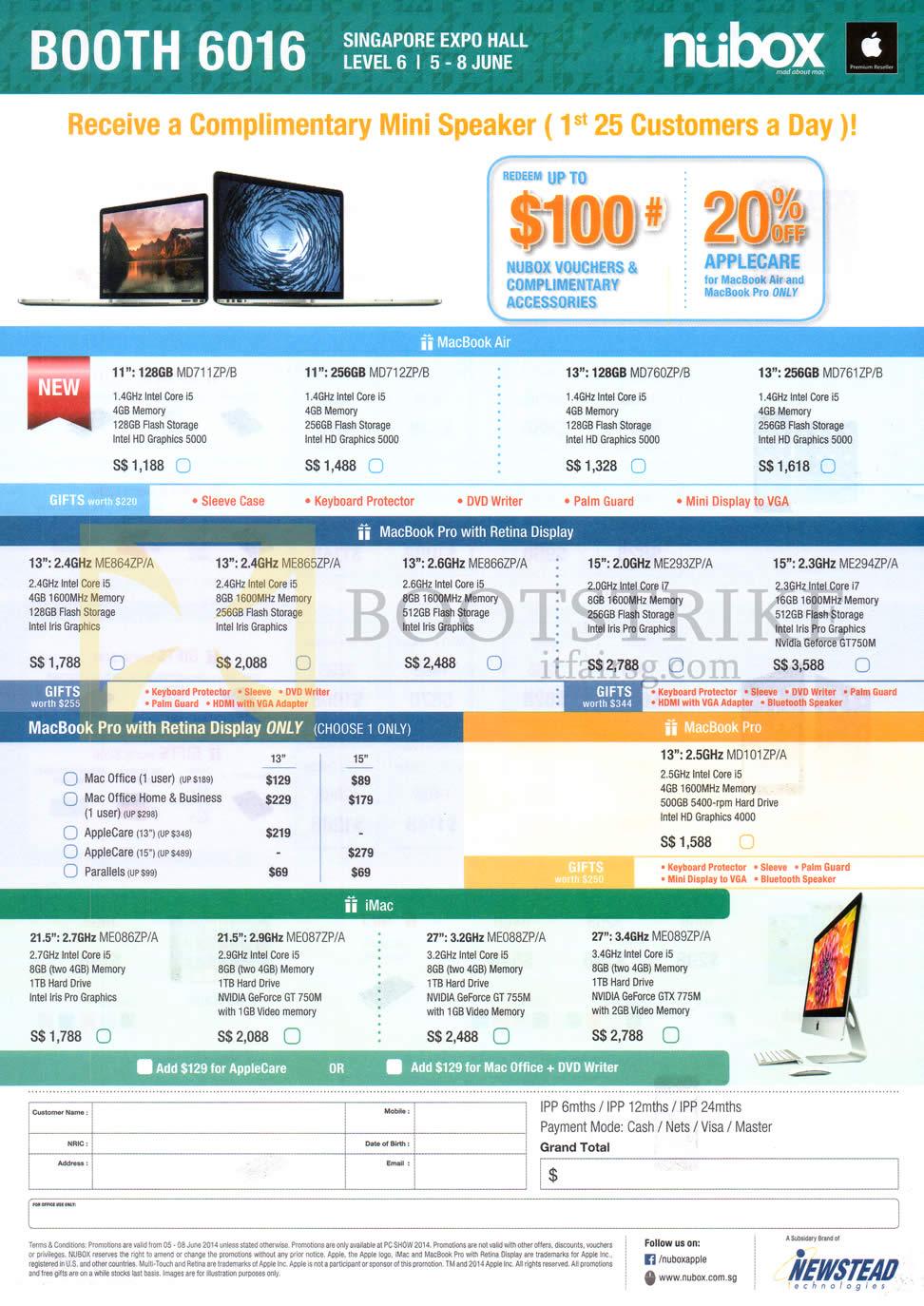 PC SHOW 2014 price list image brochure of Nubox Apple MacBook Air Notebook, MacBook Pro, IMac Desktop PC