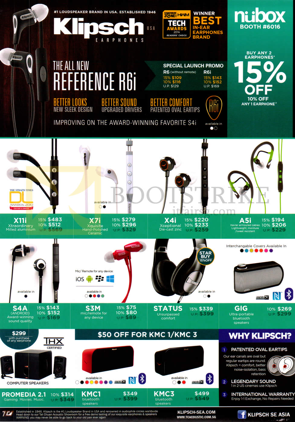 PC SHOW 2014 price list image brochure of Nubox Klipsch Headphones, Headsets, X11i, X7i, X4i, A5i, S4A, S3M, Status, GIG, Promedia 2.1 Speakers, KMC1, KMC3