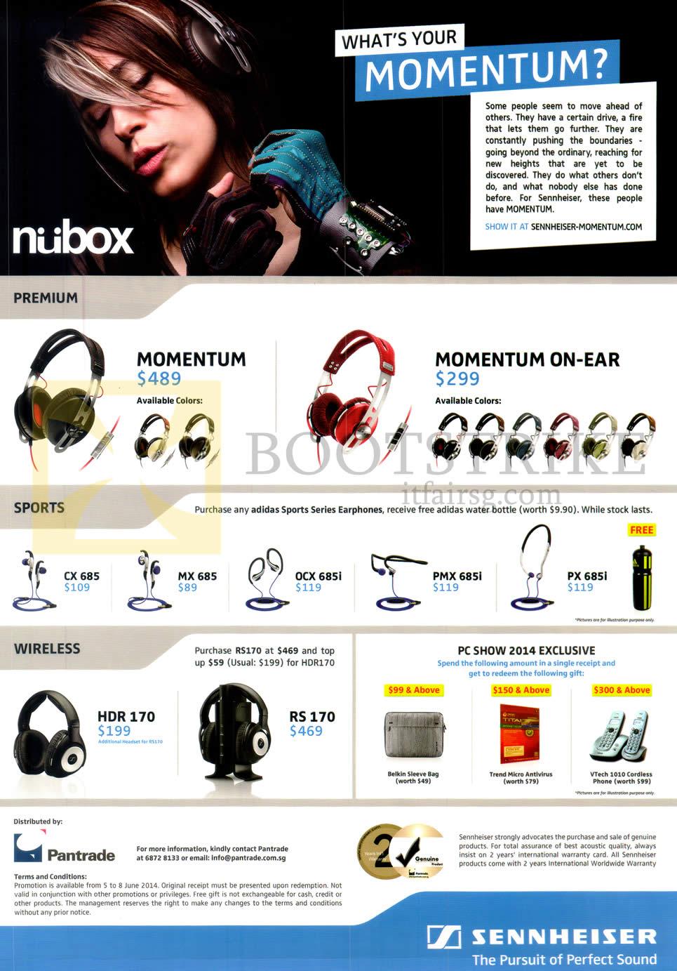 PC SHOW 2014 price list image brochure of Nubox Sennheiser Headphones, Earphones, Momentum, CX685, MX685, OCX-685i, PMX685i, PX685i, HDR 170, RS 170