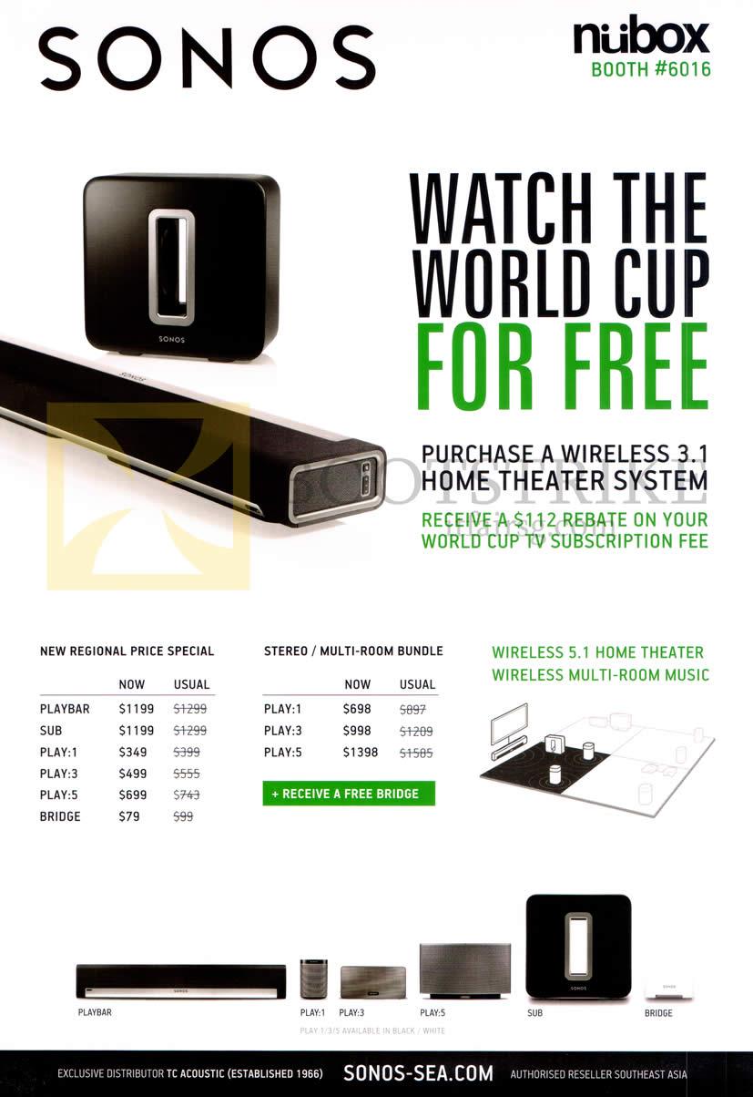 PC SHOW 2014 price list image brochure of Nubox Sonos Wireless 3.1 Home Theatre System, Playbar Sub Bridge