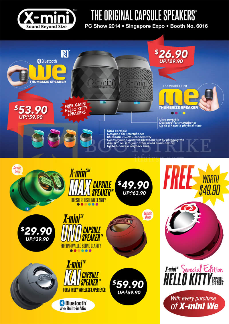 PC SHOW 2014 price list image brochure of Nubox X-Mini Capsule Speakers Me, We, Max, Uno, Kai, Hello Kitty