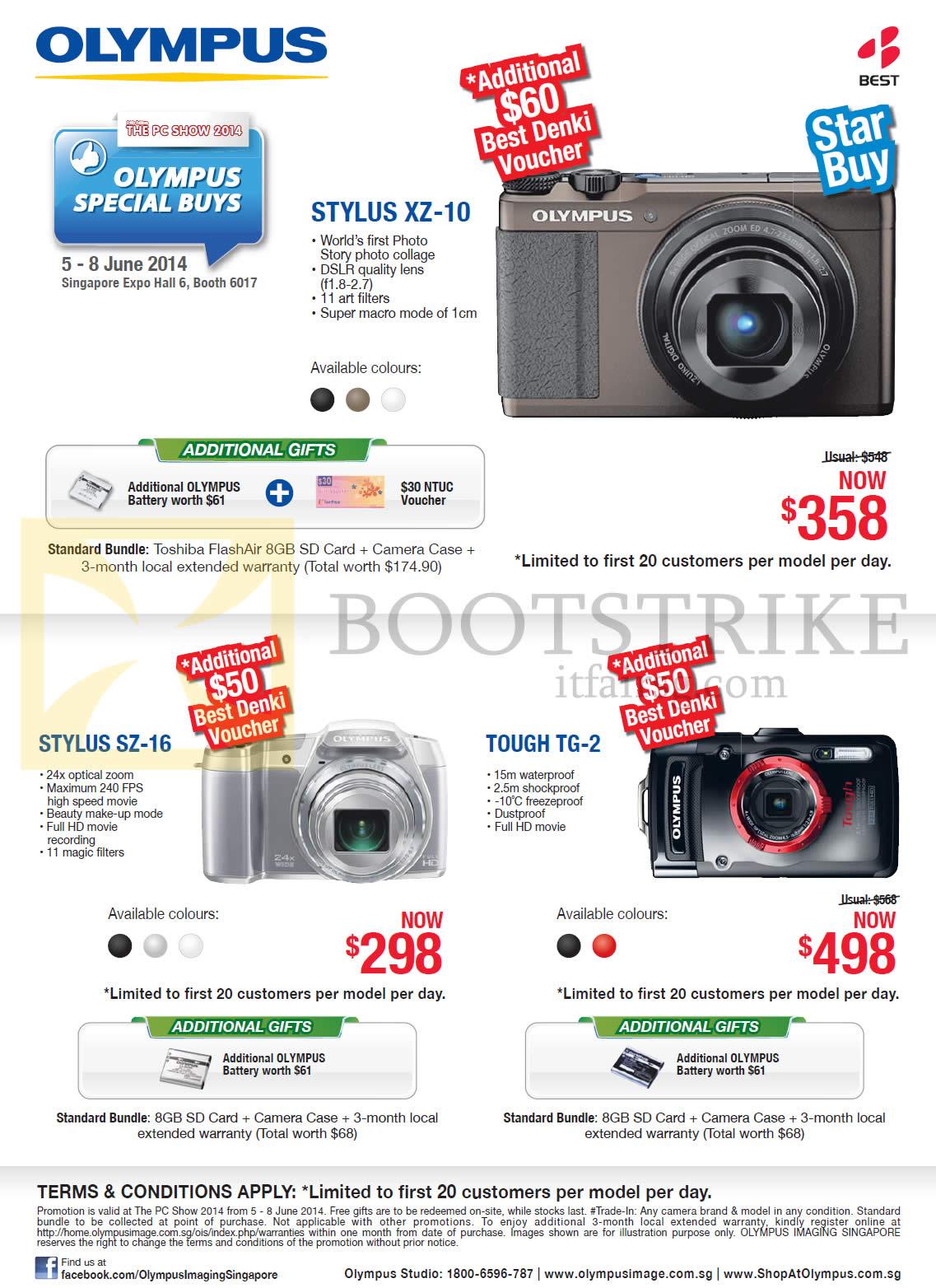 PC SHOW 2014 price list image brochure of Olympus Digital Cameras Stylus XZ-10, SZ-16, Tough TG-2