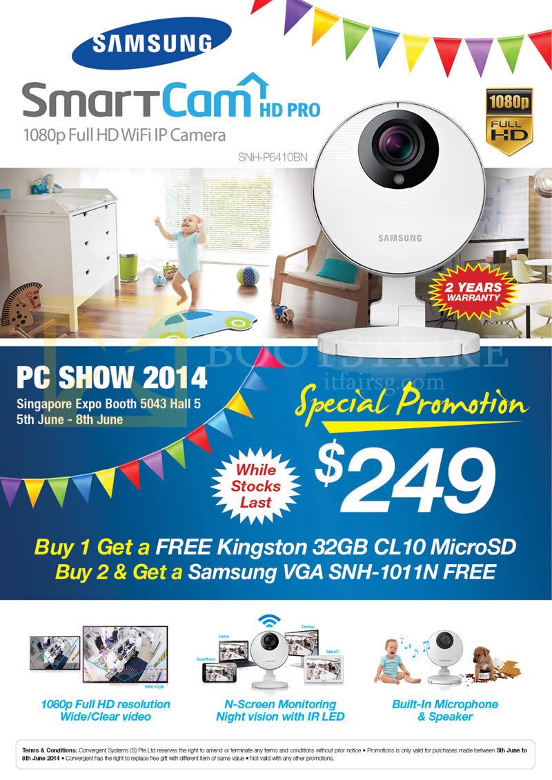 PC SHOW 2014 price list image brochure of P Mobile Samsung SmartCam IPCam HD Pro SNH-P6410BN