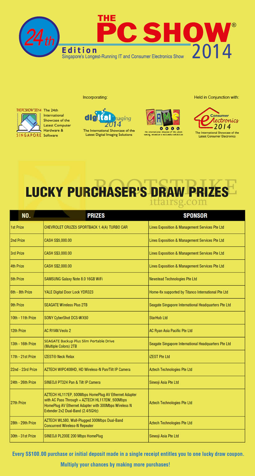 PC SHOW 2014 price list image brochure of PC Show Lucky Draw Prizes