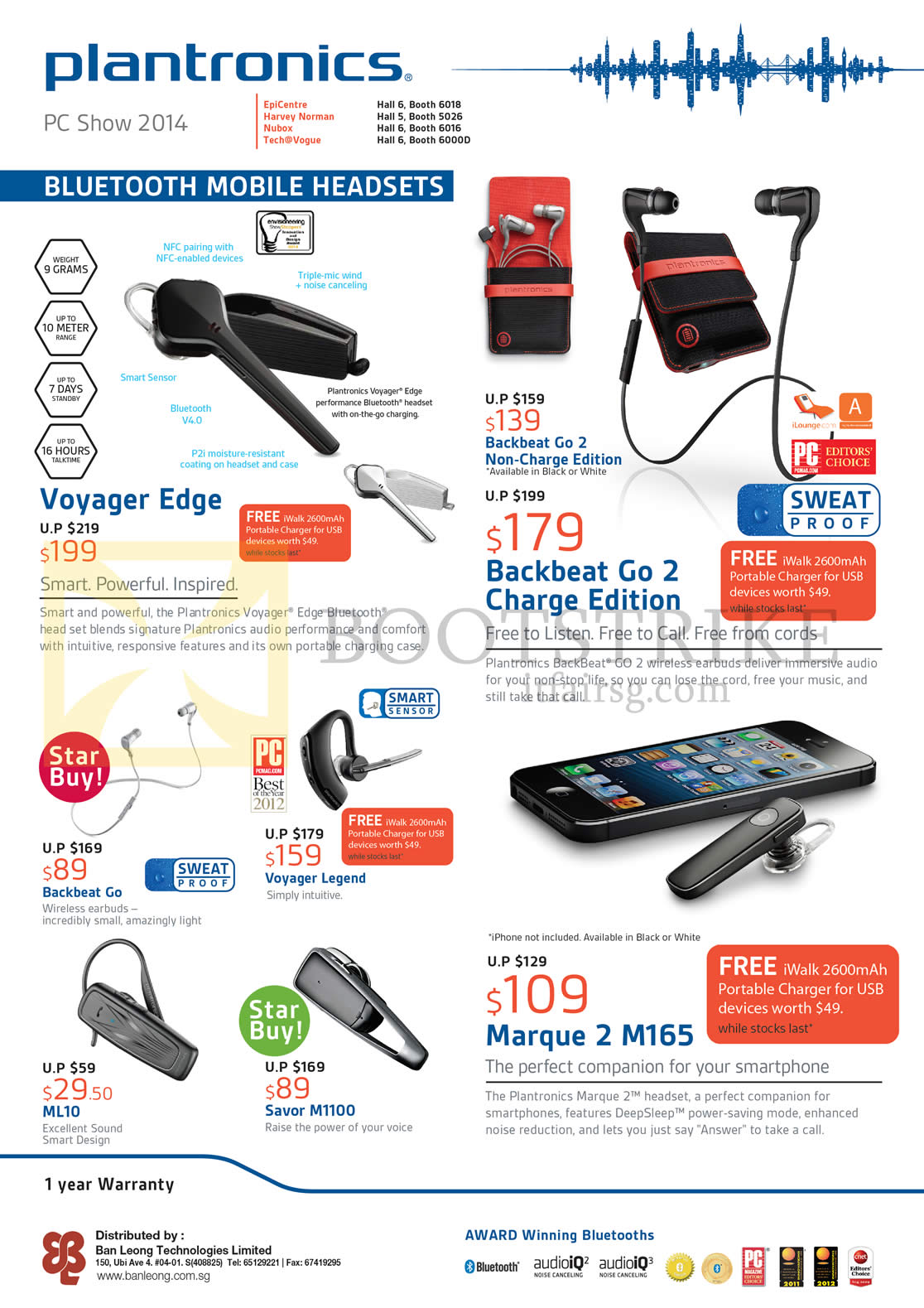 PC SHOW 2014 price list image brochure of Plantronics Bluetooth Headsets, Voyager Edge, Backbeat Go 2 Charge Edition, Marque 2 M165, Backbeat Go, Voyager Legend, ML10, Savor M1100