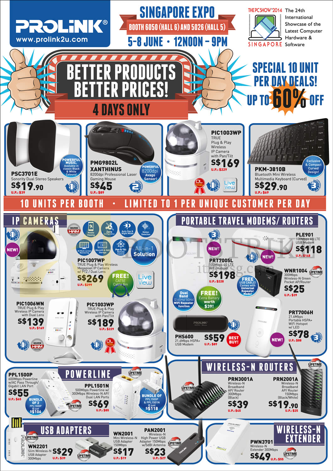 PC SHOW 2014 price list image brochure of Prolink IP Cameras IPCam, Portable Travel Modems, Routers, USB Adapters, Wireless N Routers, N Extender