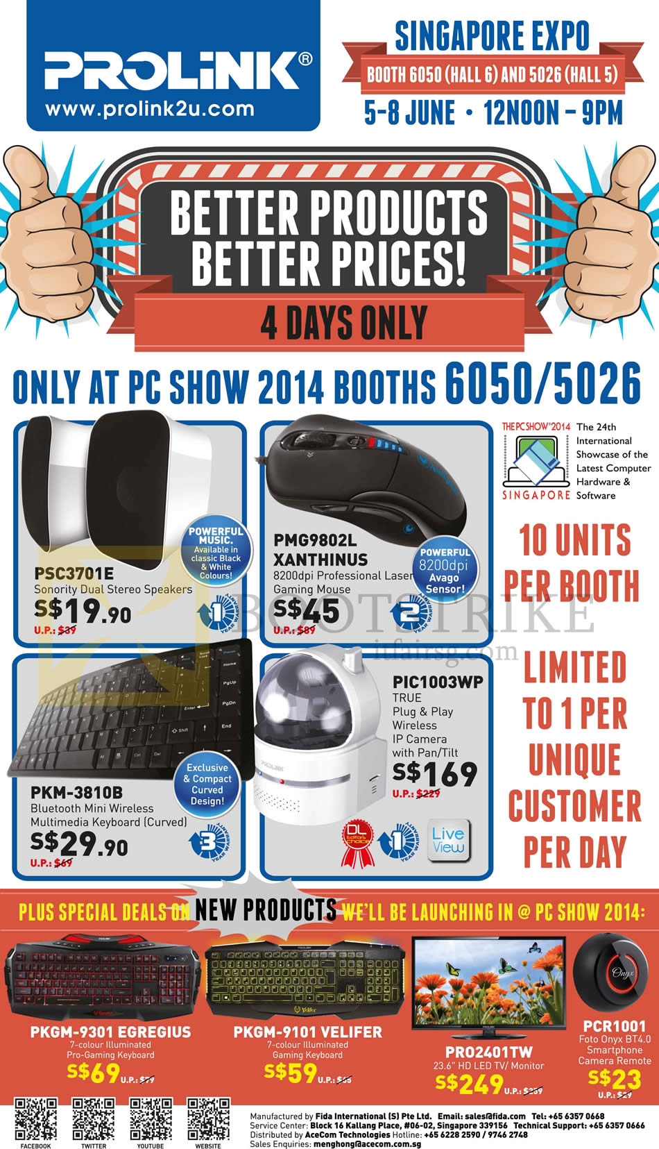 PC SHOW 2014 price list image brochure of Prolink Stereo Speakers, Gaming Mouse, Bluetooth Keyboard, IP Camera IPCam, Keyboards