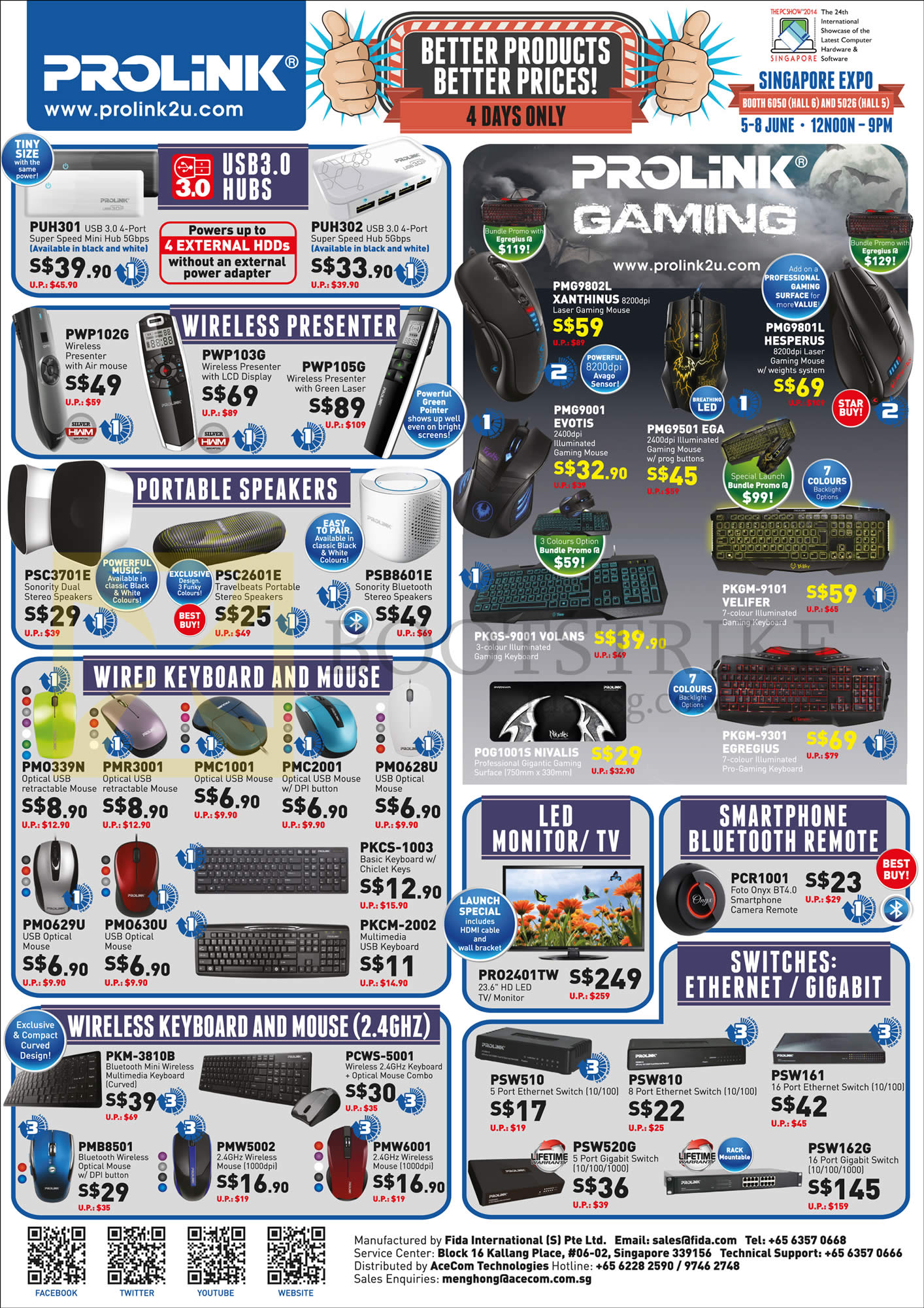 PC SHOW 2014 price list image brochure of Prolink USB 3.0 Hubs, Wireless Presenter, Portable Speakers, Wired Keyboard, Mouse, LED Monitor, TV, Ethernet, Gigabit Switches
