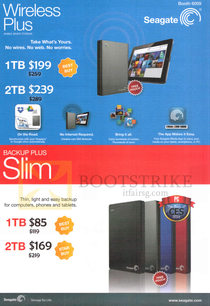 PC SHOW 2014 price list image brochure of Seagate External Storage Mobile Office Storage Wireless Plus, Backup Plus Slim, 1TB 2TB