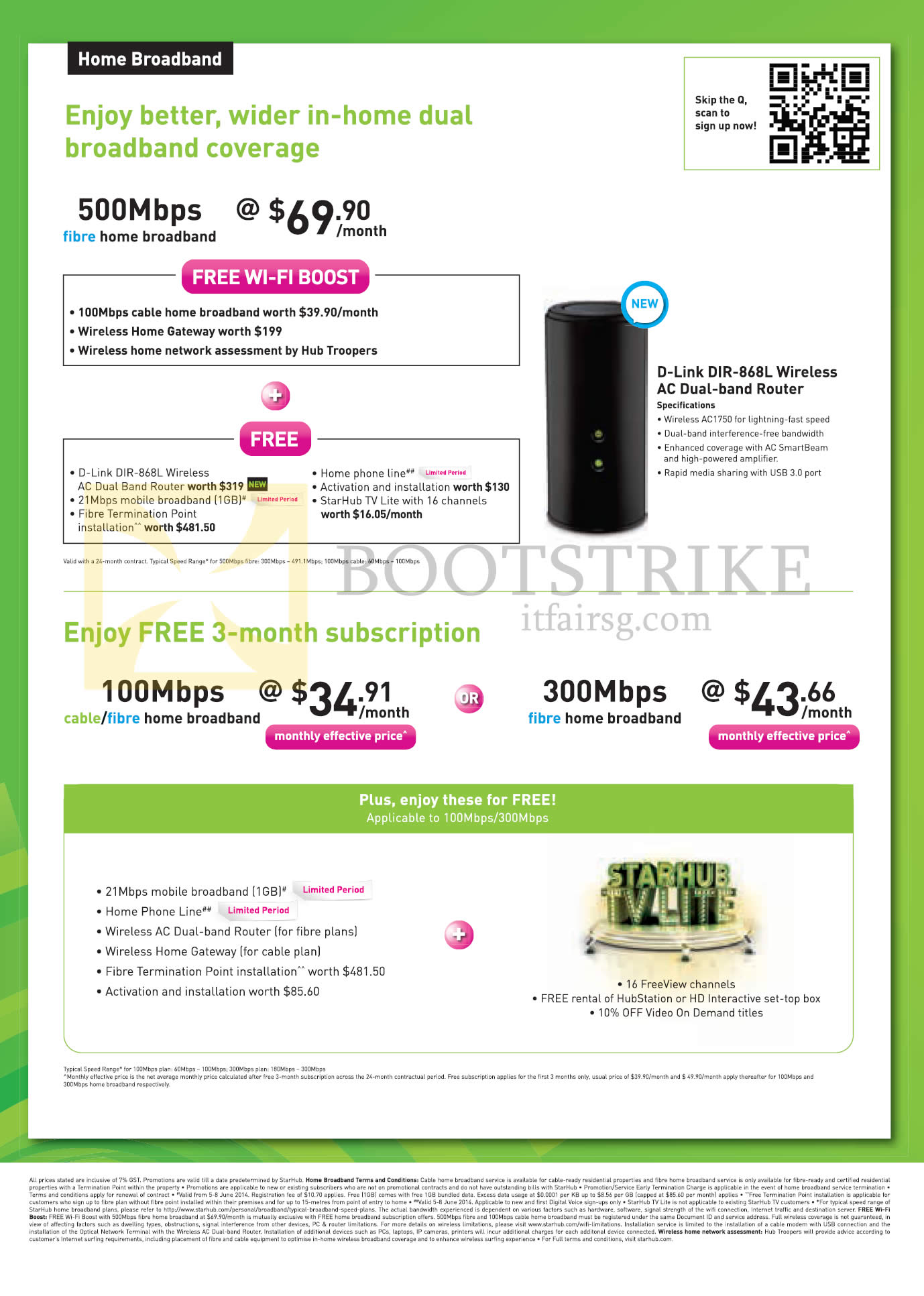 PC SHOW 2014 price list image brochure of Starhub Broadband Fibre 500Mbps  69 90 Free 3 Mth 100Mbps Cable