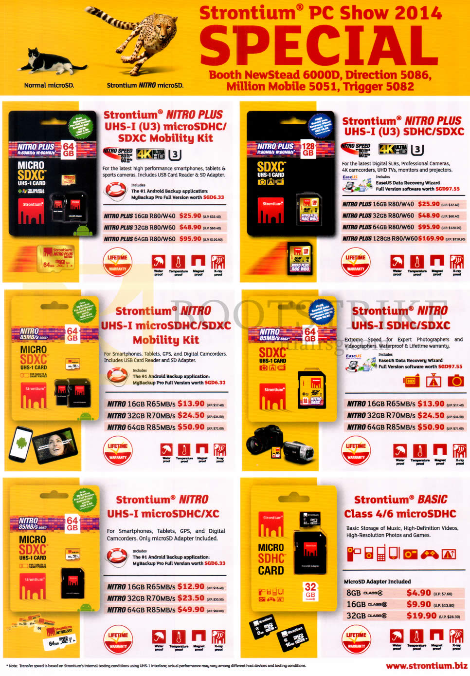 PC SHOW 2014 price list image brochure of Strontium Flash Memory Cards MicroSDHC, SDXC, Nitro Plus, Basic, UHS-I