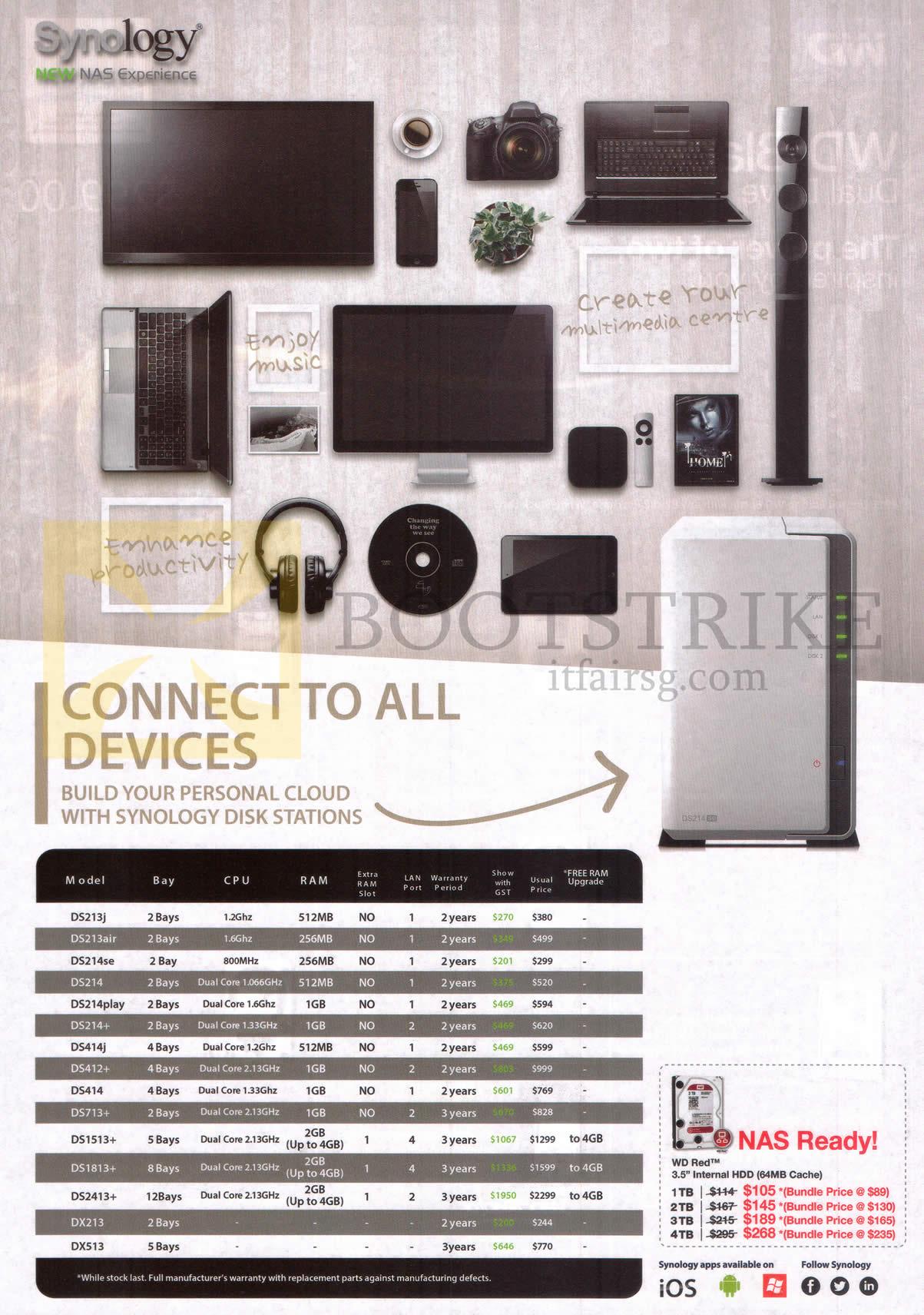 PC SHOW 2014 price list image brochure of Synology NAS DiskStation DS213j, DS214, SE, Play, Plus, DS414j, 713Plus, 1513plus, 1813plus, 2413plus, 213, 513