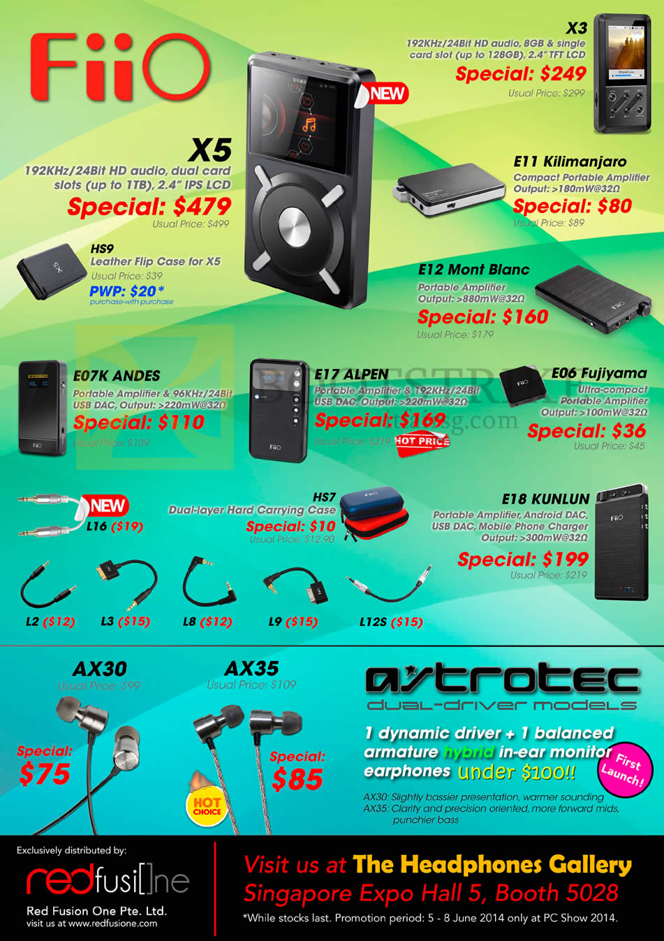 PC SHOW 2014 price list image brochure of The Headphones Gallery FiiO X5 Player, Amplifiers E07K Andes, E17 Alphen, E06, E11, E12, E18 Kunlun, X3, Charger, Astrotec Earphones AX30 AX35