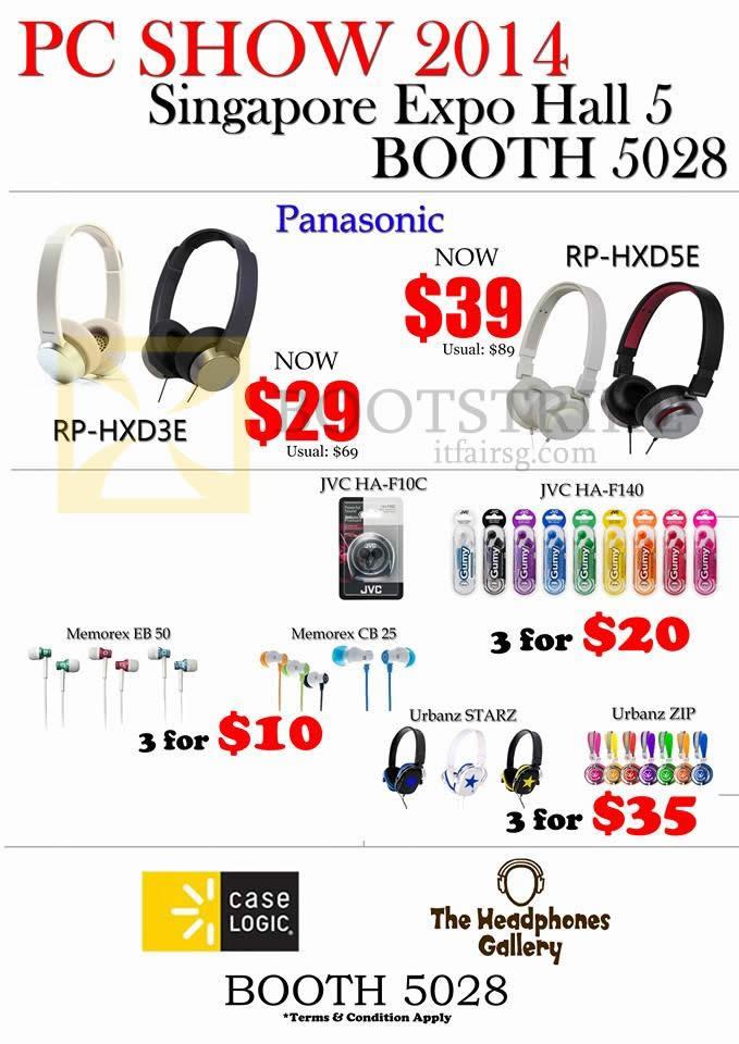 PC SHOW 2014 price list image brochure of The Headphones Gallery Panasonic RP-HXD3E HXD5E, JVC Earphones, Memorex, Urbanz Zip