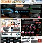Keyboards, Mouse, Headsets, Microsoft, Logitech, Roccat, Steelseries, Prolink Gaming, CMStorm, Quickfire XT
