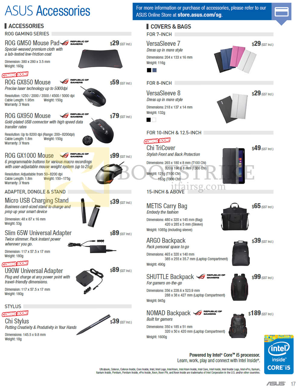 PC SHOW 2015 price list image brochure of ASUS Accessories ROG, Covers, Bags, Mouse, Adapter, Carry Bag, Backpack