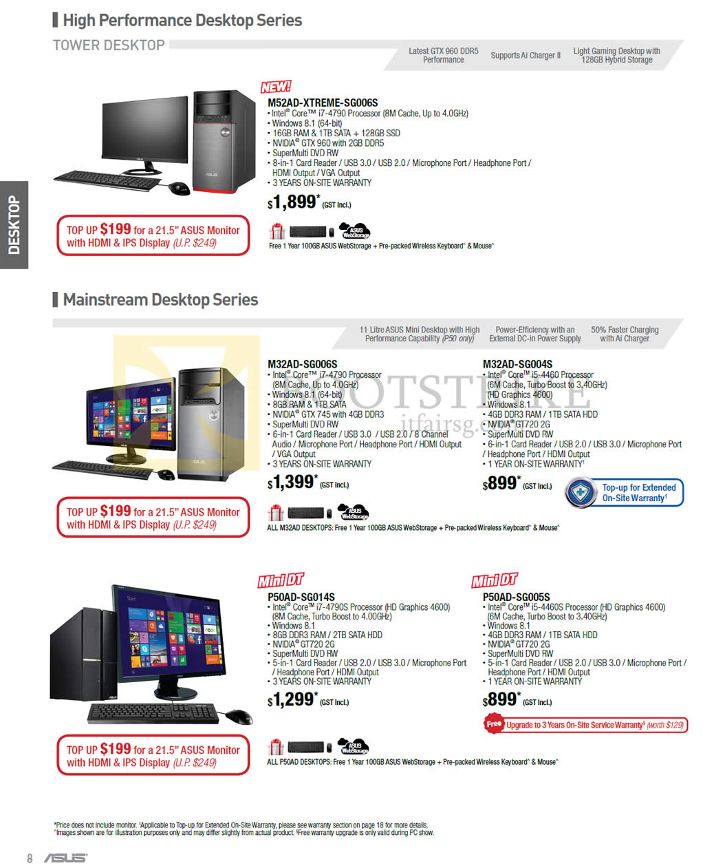 PC SHOW 2015 price list image brochure of ASUS Desktop PC M52AD-XTREME-SG006S, M32AD-SG006S, M32AD-SG004S, P50AD-SG014S, P50AD-SG005S