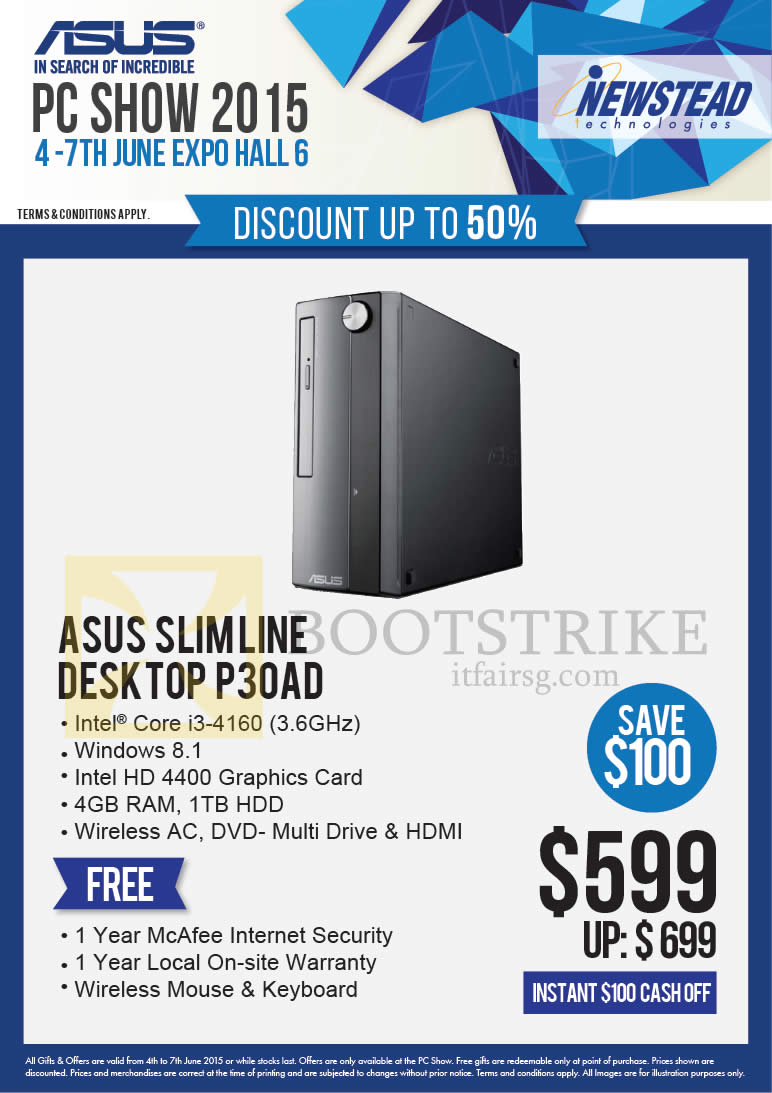 PC SHOW 2015 price list image brochure of ASUS Newstead Desktop PC Slimline P30AD