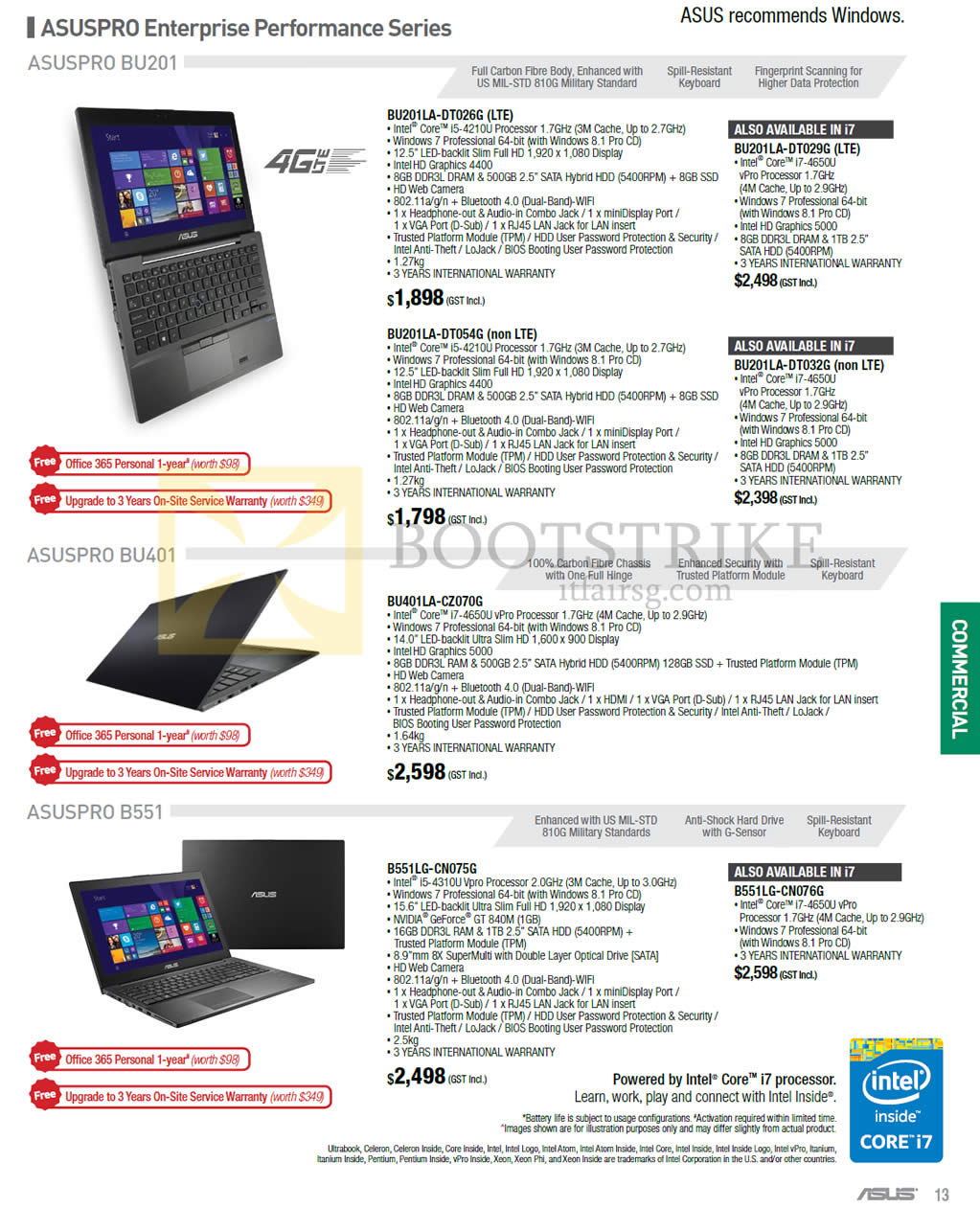 PC SHOW 2015 price list image brochure of ASUS Notebooks Asuspro, BU201LA-DT026G, BU201LA-DT029G, BU201LA-DT054G, BU201LA-DT032G, BU401LA-CZ070G, B551LG-CN075G, B551LG-CN076G