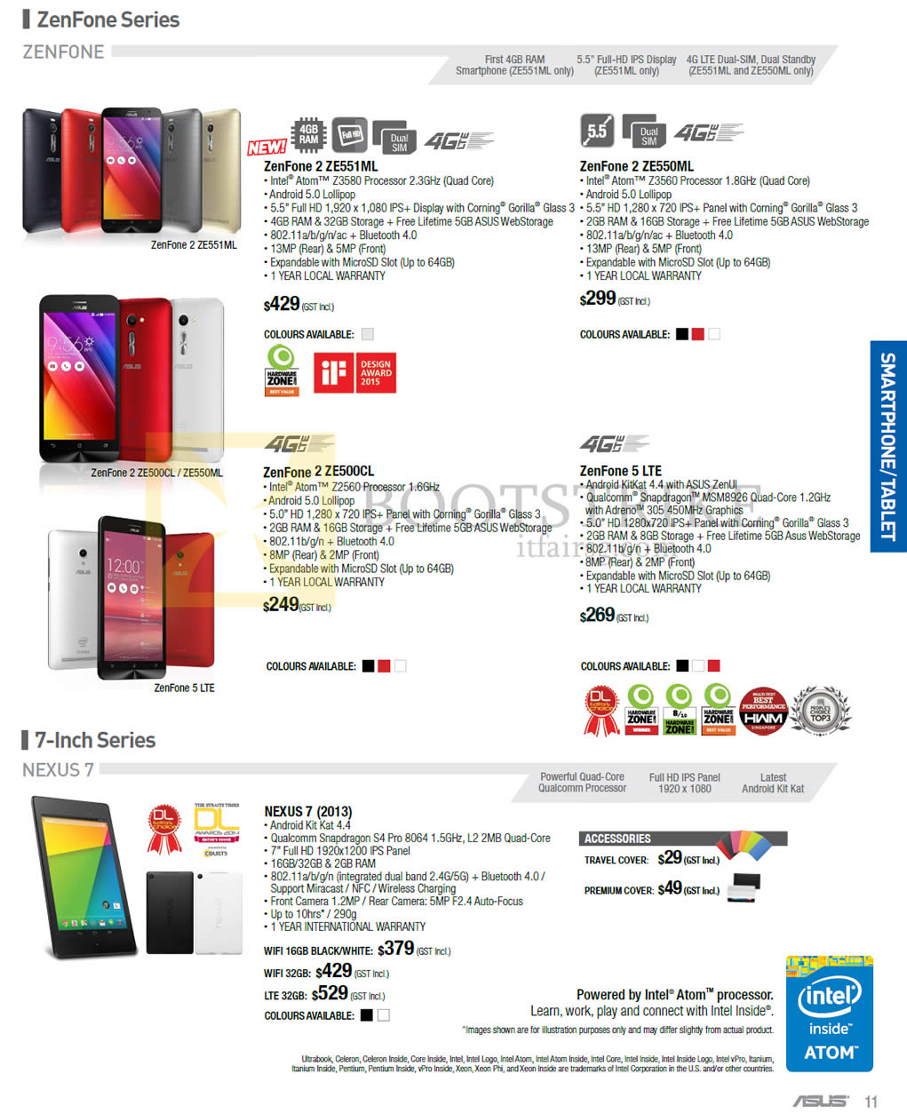 PC SHOW 2015 price list image brochure of ASUS Smartphones, ZenFone 2 ZE551ML, ZE550ML, ZE500CL, ZenFone 5, NEXUS 7