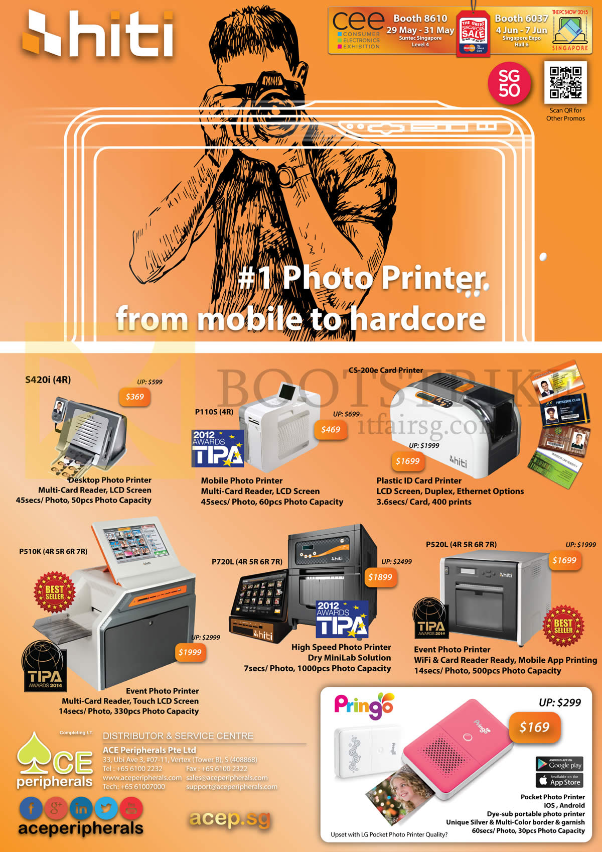 PC SHOW 2015 price list image brochure of Ace Peripherals HiTi Pringo Pocket P110S S420i P720L P520L P510K CS 200e Photographer Photo Card Printer