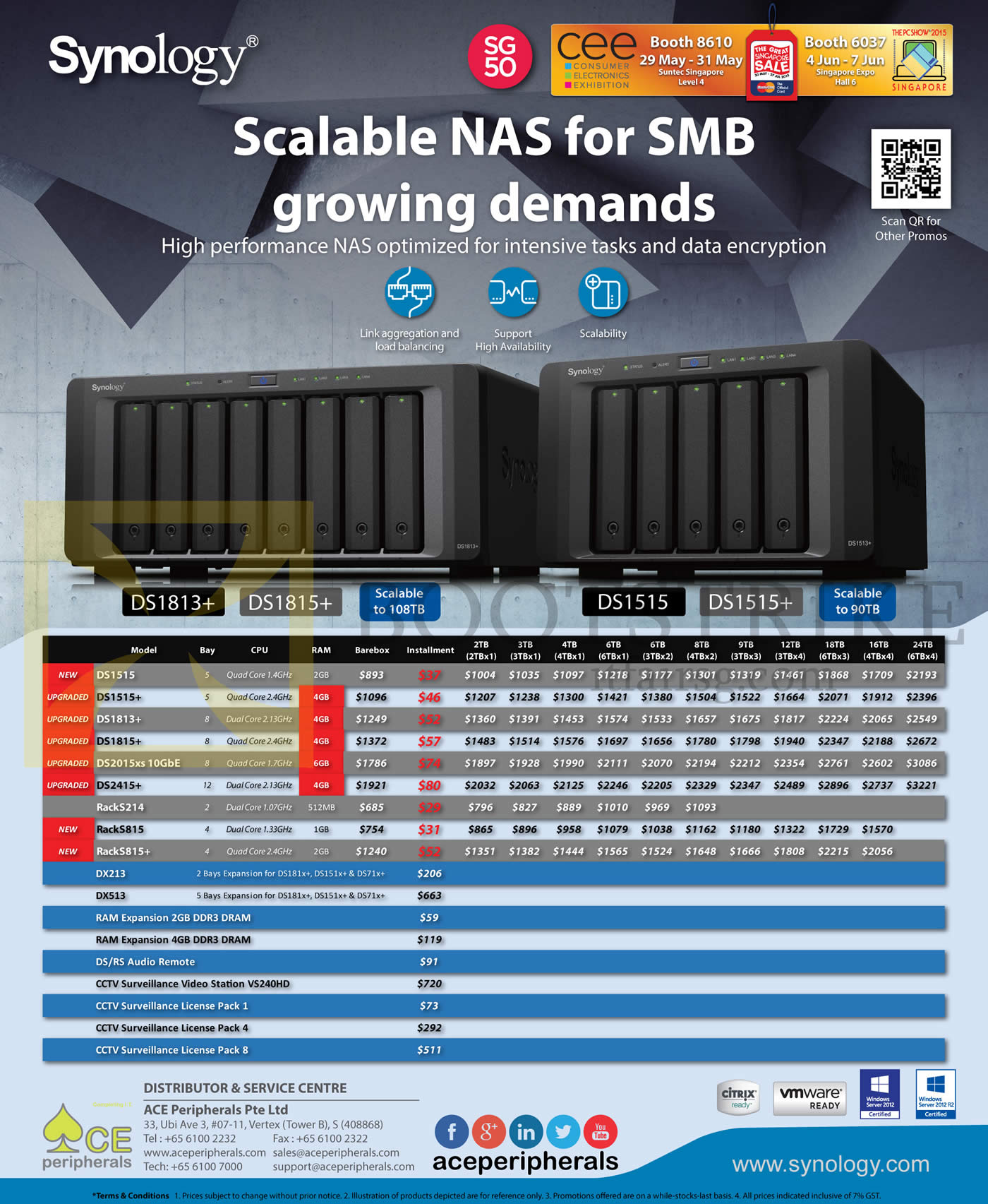 PC SHOW 2015 price list image brochure of Ace Peripherals Synology NAS DS1513 DS1813 DS2413 RS214 RS814 DX213 DX513 DS1515 DS1815 Plus