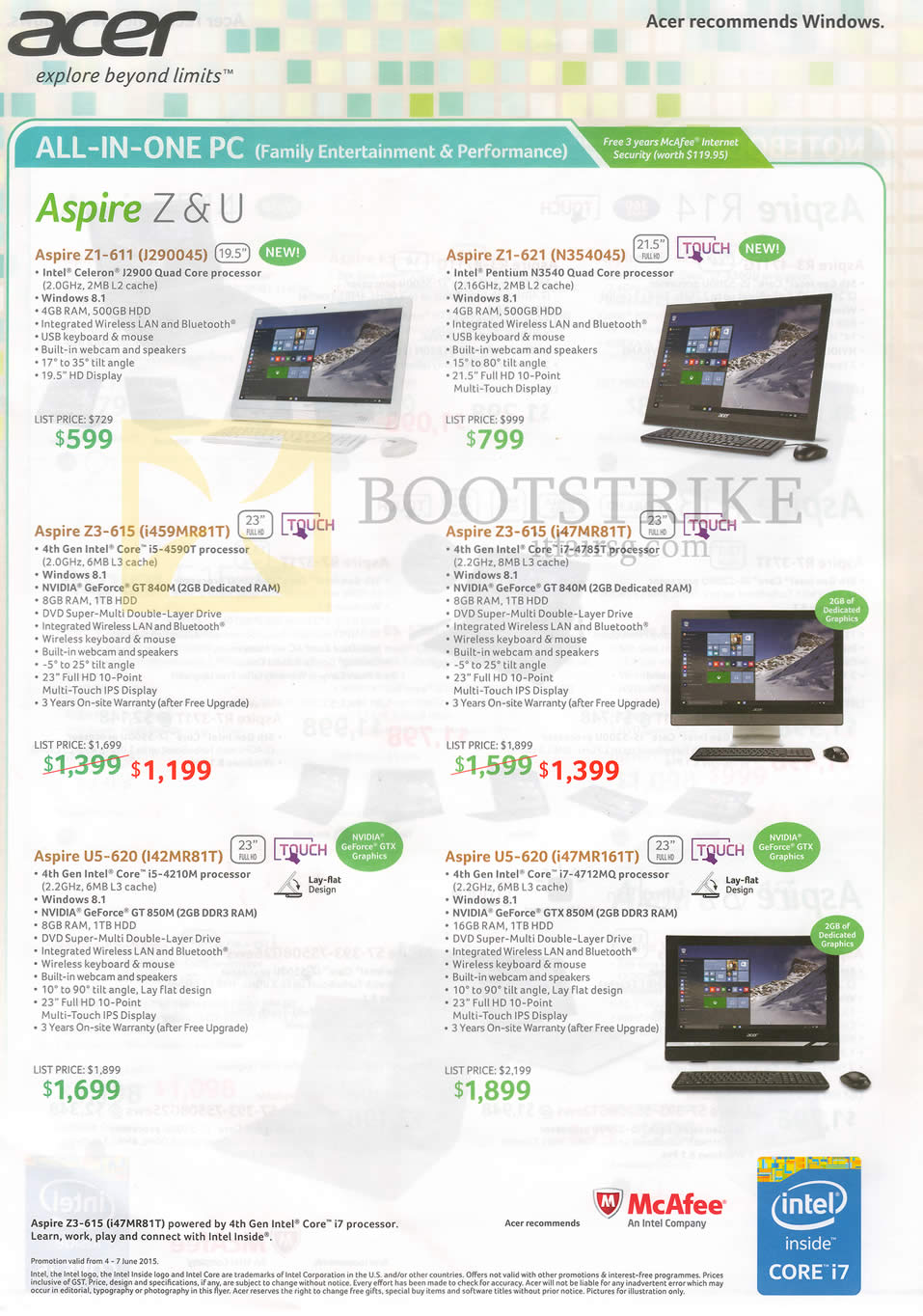 PC SHOW 2015 price list image brochure of Acer AIO Desktop PCs Aspire Z1-611, 621, Z3-615, U5-620