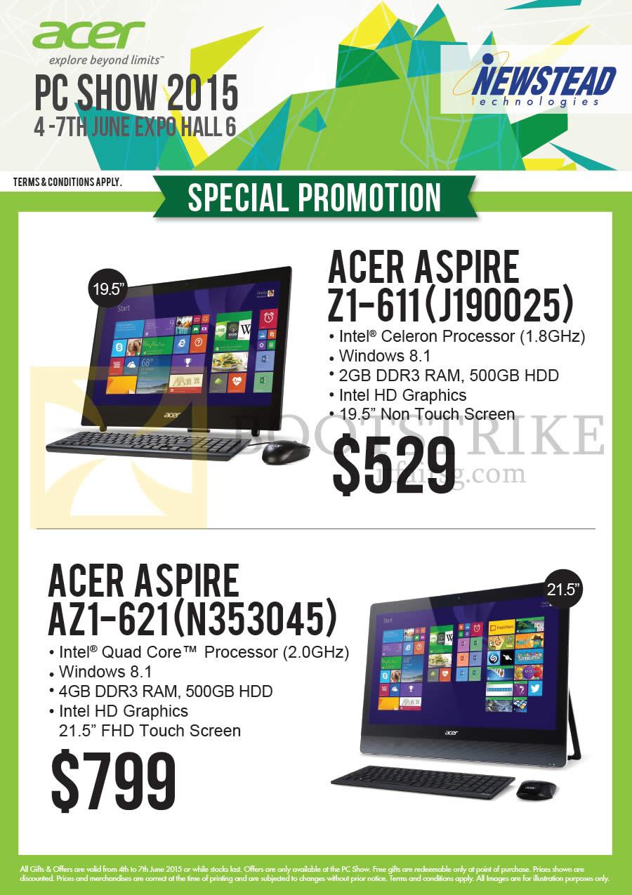 PC SHOW 2015 price list image brochure of Acer Newstead AIO Desktop PCs Aspire Z1-611 J190025, AZ1-621 N353045