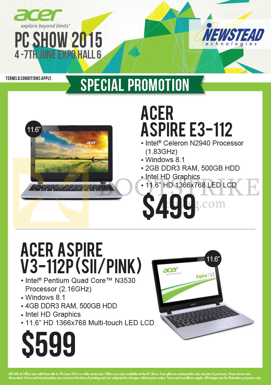 PC SHOW 2015 price list image brochure of Acer Newstead Notebooks Aspire E3-112, V3-112P