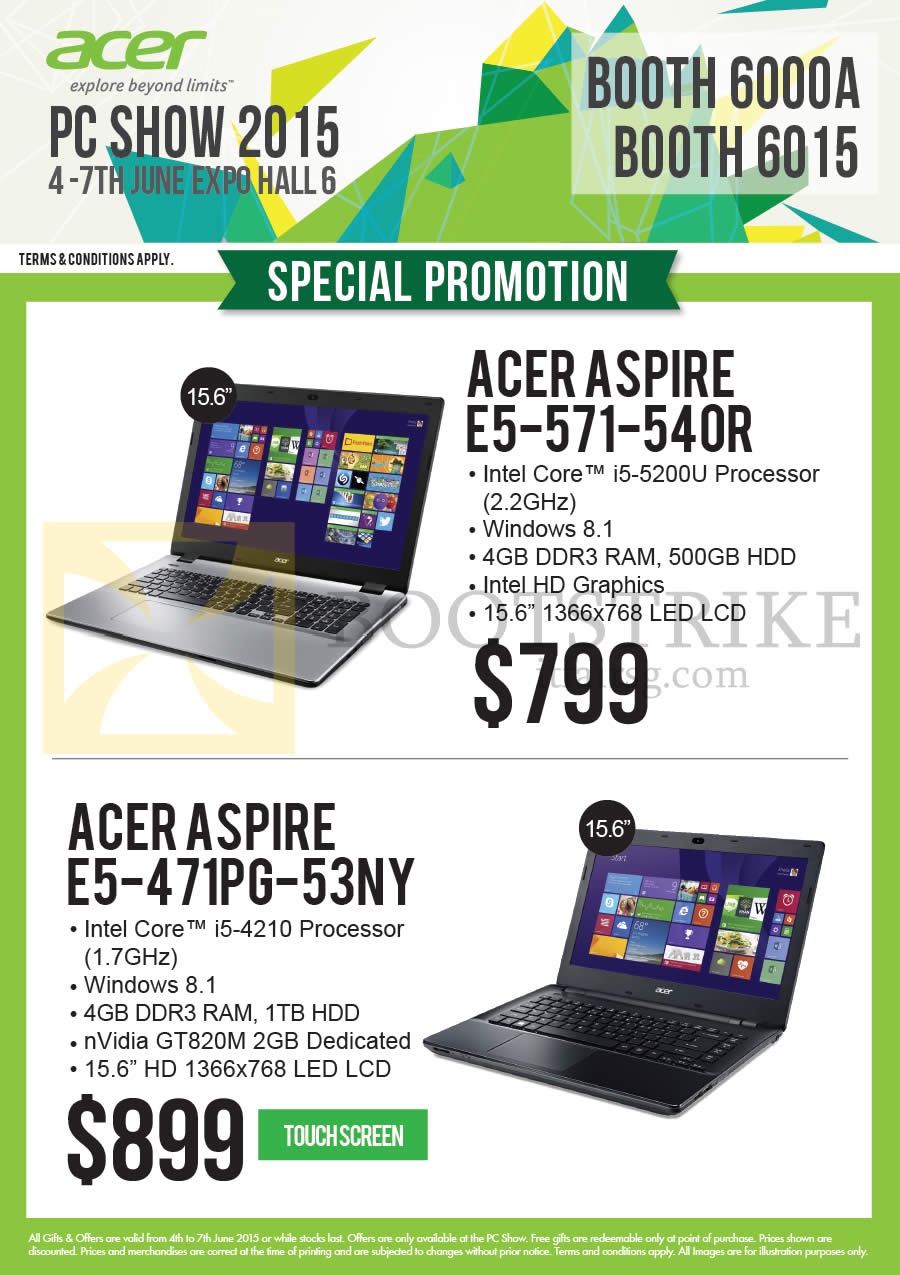 PC SHOW 2015 price list image brochure of Acer Newstead Notebooks Aspire E5-571-540R, E5-471PG-53NY