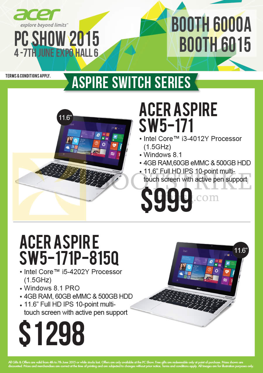 PC SHOW 2015 price list image brochure of Acer Newstead Notebooks Aspire SW5-171, SW5-171P-815Q