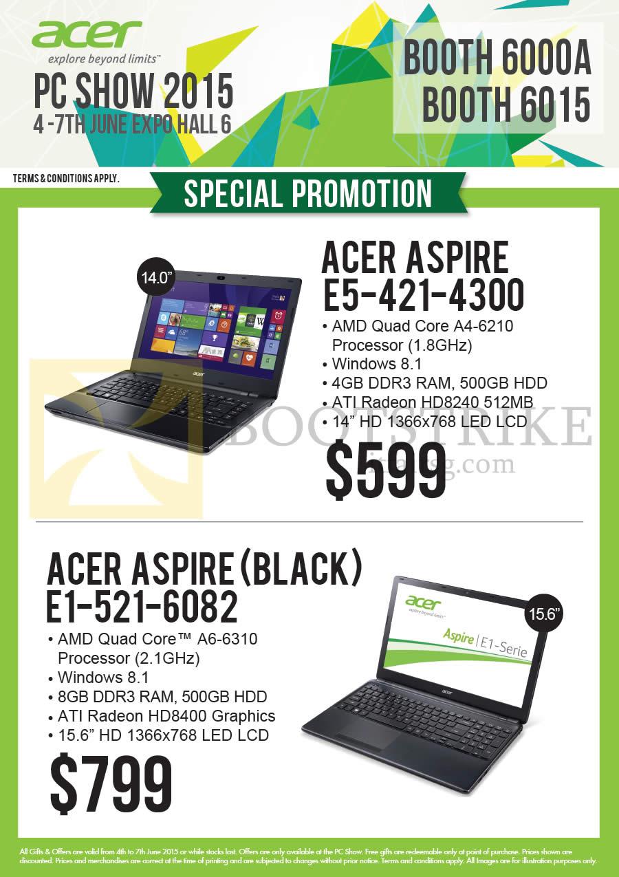 PC SHOW 2015 price list image brochure of Acer Newstead Notebooks E5-421-4300, E1-521-6082