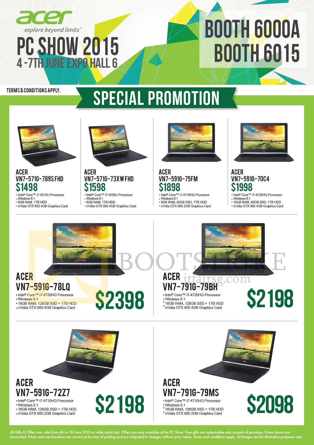 PC SHOW 2015 price list image brochure of Acer Newstead Notebooks VN7-571G-789SFHD, 73XWFHD, 591G-75FM, 70C4, 78LQ, 72Z7, 791G-79BH, 79MS