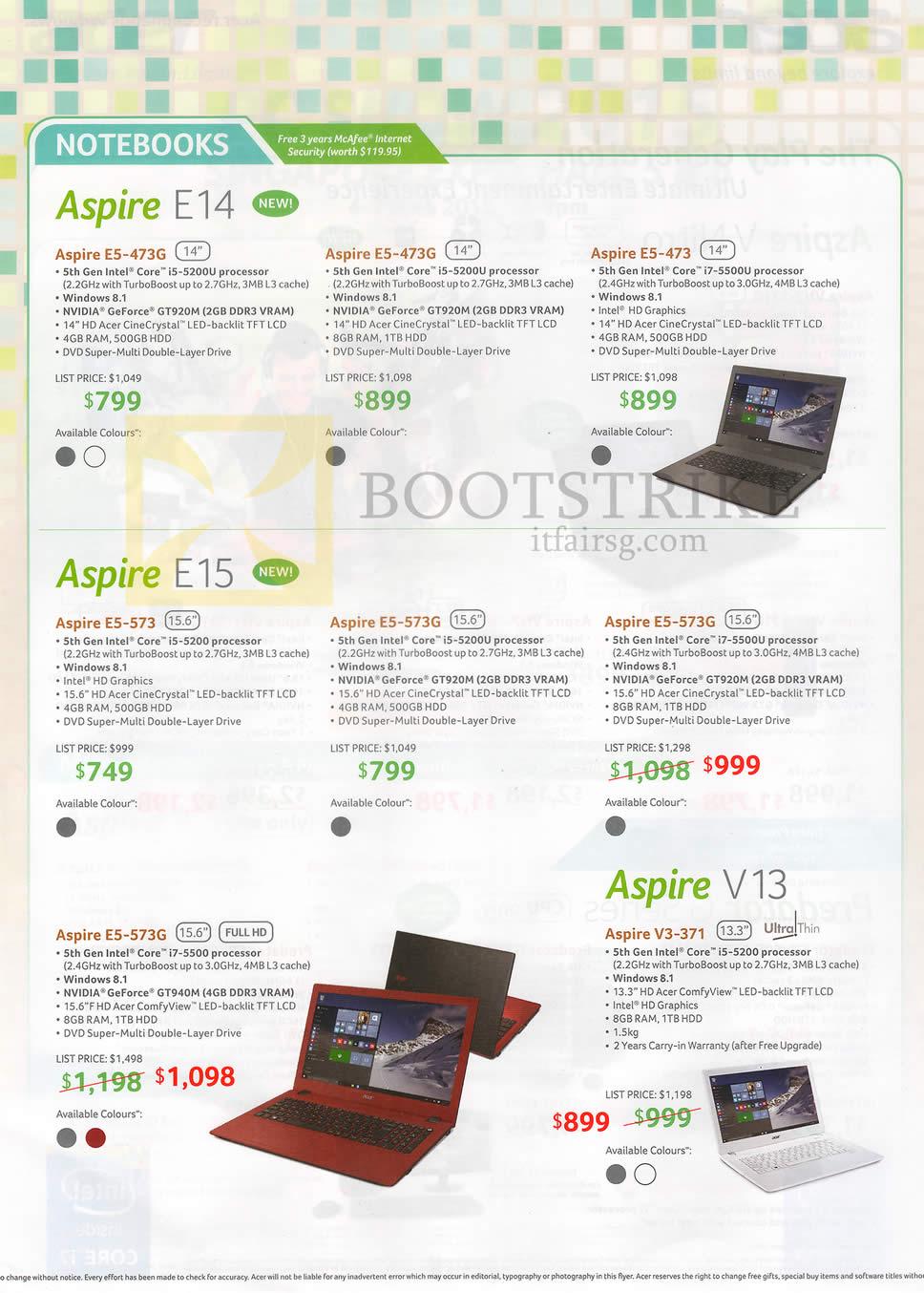PC SHOW 2015 price list image brochure of Acer Notebooks Aspire E5-473, 473G, 573, 573G, V3-371