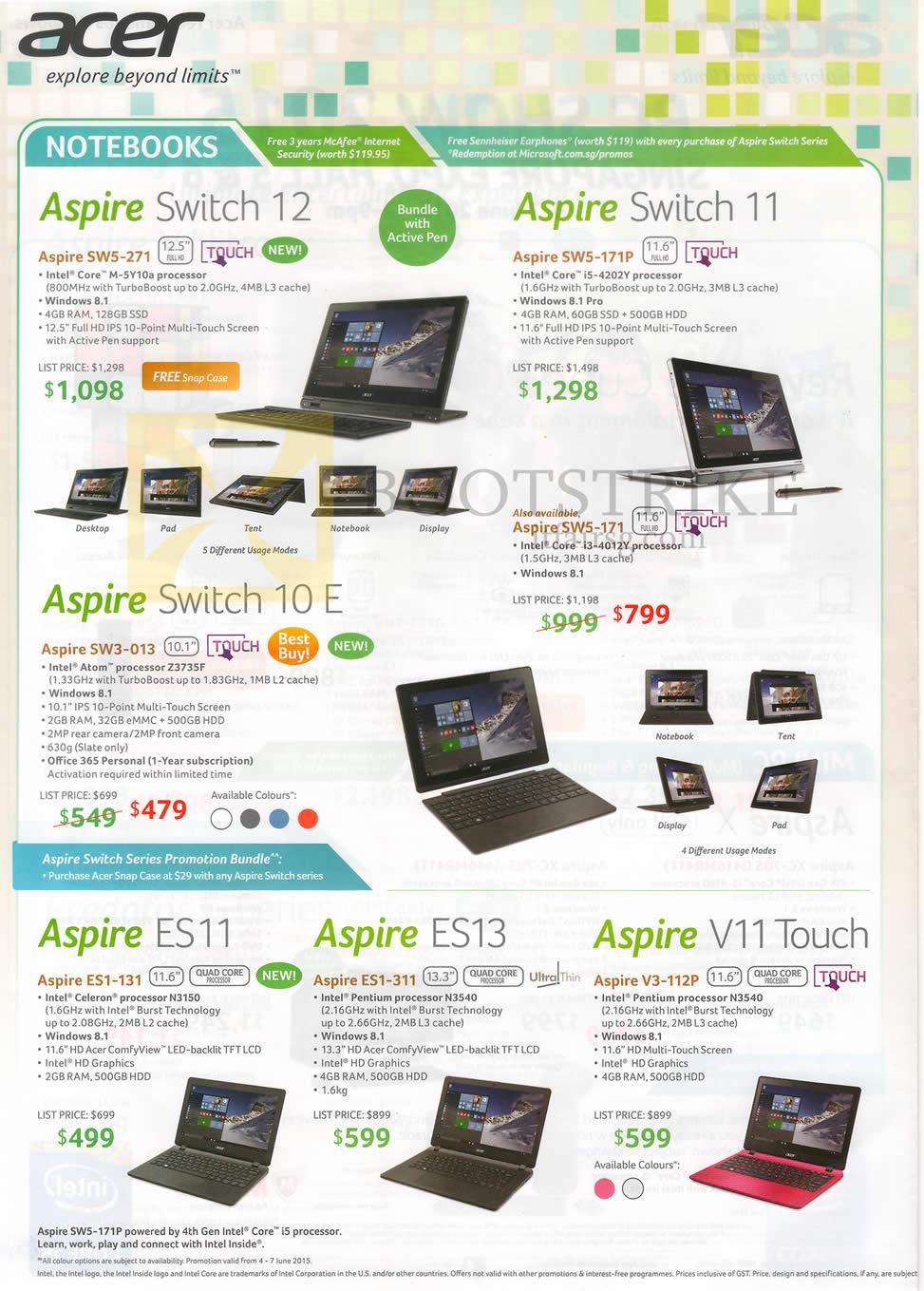 PC SHOW 2015 price list image brochure of Acer Notebooks Aspire Switch 10E, 11, 12, ES11, ES13, V11 Touch, Aspire SW5-271, 171P, 171, SW3-013, ES1-131, 311, V3-112P