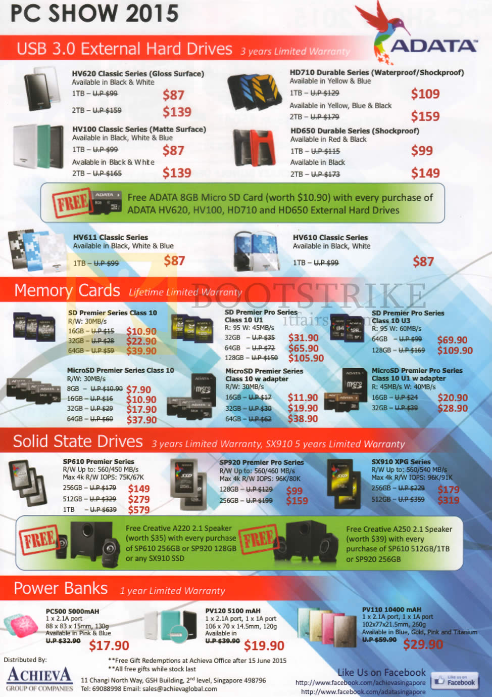 PC SHOW 2015 price list image brochure of Achieva External Storage Drives, Memory Cards MicroSD, Solid State Drives, Power Banks, SSD