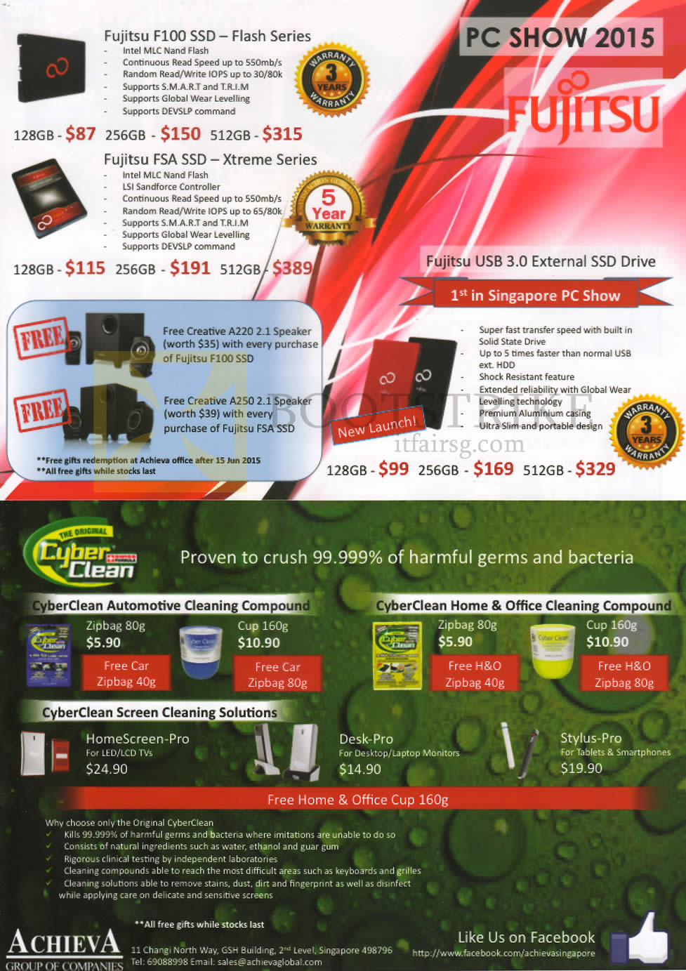 PC SHOW 2015 price list image brochure of Achieva Fujitsu SSD, Speakers, Cyberclean Cleaning Compounds, Fujitsu F100, FSA SSD