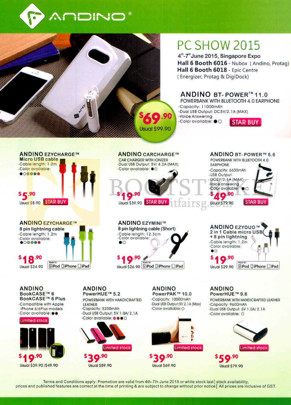 PC SHOW 2015 price list image brochure of Andino Cables, Bluetooth Earphone, Bookcase, Powerbank, Cable Micro USB