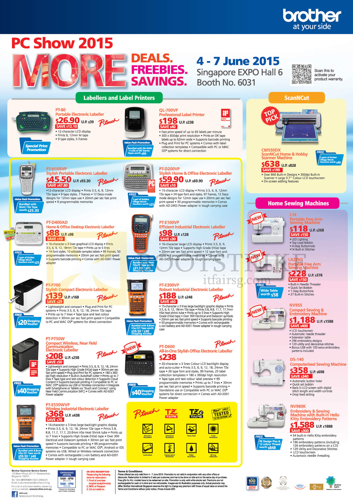 PC SHOW 2015 price list image brochure of Brother Labellers Label Printers, ScanNCut, Sewing Machines