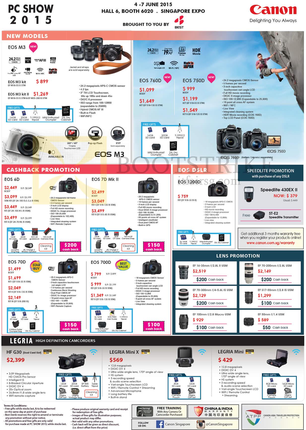 Canon Digital Cameras DSLR EOS M3 760D 750D 6D 7D Mk II 1200D 70D 700D, Legria HF G30 Mini X, Lenses
