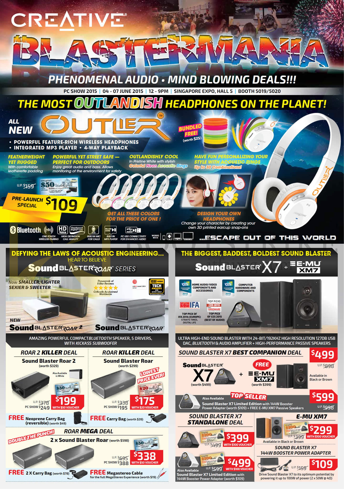 PC SHOW 2015 price list image brochure of Creative Speakers, Headphones, Outlier Headset, Sound Blaster Roar Series, X7, E-MU XM7