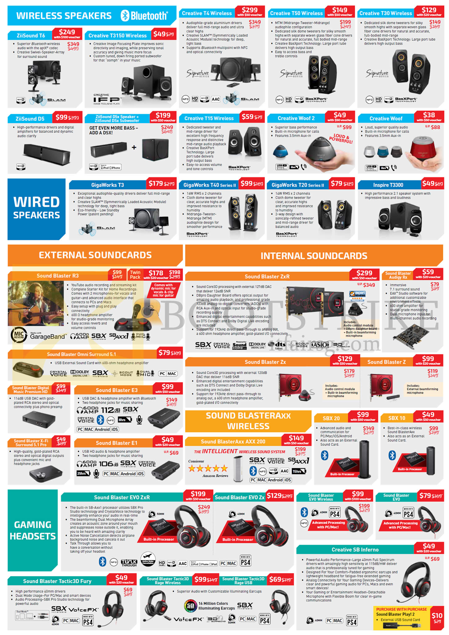 PC SHOW 2015 price list image brochure of Creative Speakers, Wireless, Wired Speakers, Gaming Headsets, Sound Cards, Sound Blaster Axx, Evo ZxR, Tactic3D Fury, SB Inferno, SBX, Zx, Z, Omni Surround, Audigy