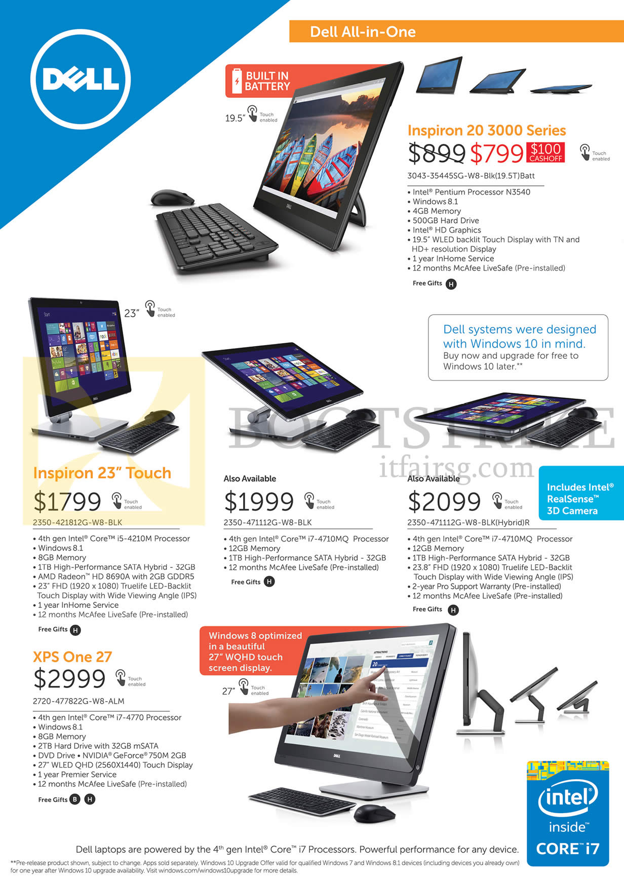 PC SHOW 2015 price list image brochure of Dell AIO Desktop PCs Inspiron 20 3000 Series, 23 Touch, XPS One 27
