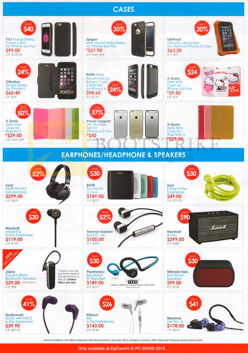 PC SHOW 2015 price list image brochure of EpiCentre Accessories Cases, Earphones, Headphones, Speakers
